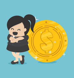 businesswoman with coin vector image