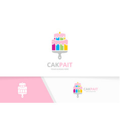 cake and brush logo combination pie vector image