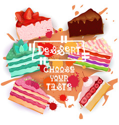 cakes set colorful desserts collection choose your vector image