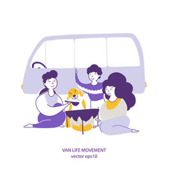 campers eating outdoors hand drawn vector image