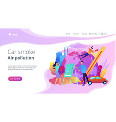 Car smoke air pollution landing page vector