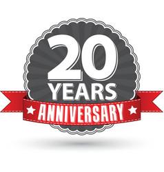 Celebrating 20 years anniversary retro label vector