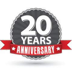 Celebrating 20 years anniversary retro label with vector image