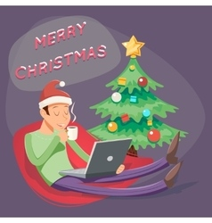 Christmas Cartoon Geek Eager Beaver Symbol Man vector image