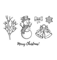 Christmas hand drawn doodle icon set merry xmas vector