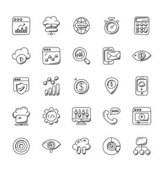 Collection of seo and marketing doodle icons vector