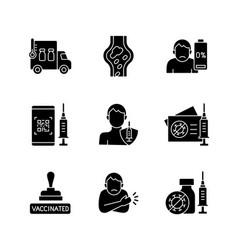 covid19 passport black glyph icons set on white vector image