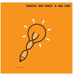Creative light bulb pencil and DNA symbol vector