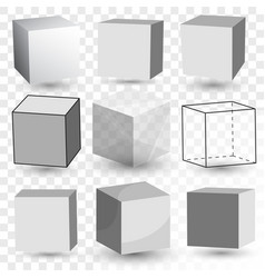 Cube realistic set transparent glass block model vector