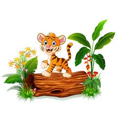 Cute baby tiger posing on tree trunk vector