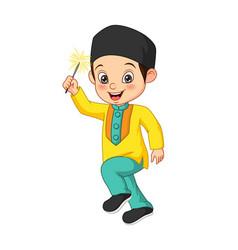 Cute muslim boy playing firework vector