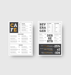 design menu for cafes and restaurants with vector image