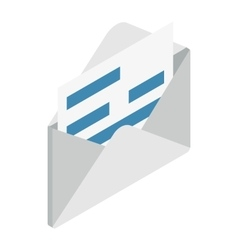 Document in envelope icon isometric 3d style vector