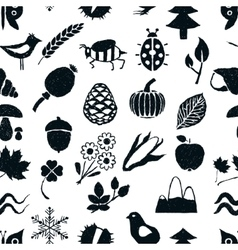 doodle seamless nature pattern vector image
