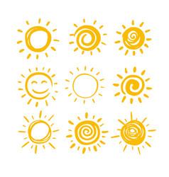 doodle sun set for summer design vector image