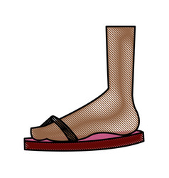 drawing feet with flip flop beach design vector image