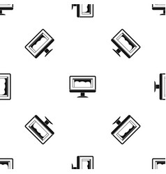 drawing monitor pattern seamless black vector image