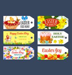 easter egg hunt gift tag and label set design vector image