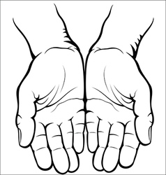 Empty open palms vector image