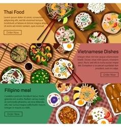 Flat of thai vietnam vector