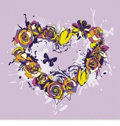 floral vector heart vector image vector image