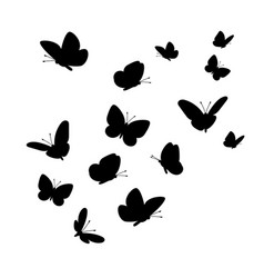 Flying butterflies silhouettes vector