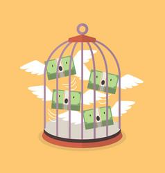 flying money in bird cage vector image