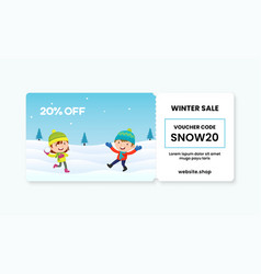 Gift voucher card with couple kids playing vector