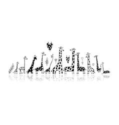 Giraffes family sketch for your design vector