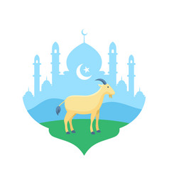 goat at mosque courtyard flat for eid al adha the vector image