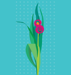 greeting card with flower number 8 vector image