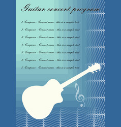 guitar concerts program template with white guitar vector image