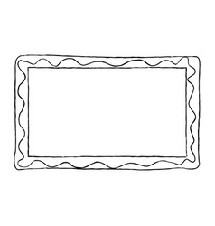 Hand-drawn frame black and white with wavy line vector