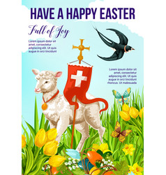 happy easter holiday banner with lamb and cross vector image