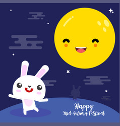 Happy mid autumn festival card rabbit vector