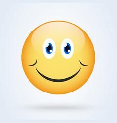 happy smile emoticon yellow with shadow emoji vector image
