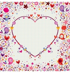 heart frame with birds and flowers vector image