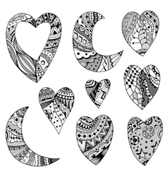 Hearts and crescent vector