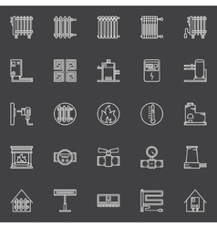 Heating linear icons vector
