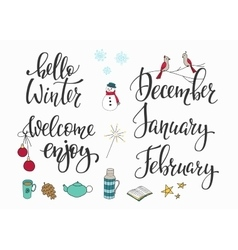 Hello Winter December January February set vector image