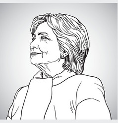 hillary clinton portrait drawing vector image
