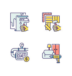 house renovations rgb color icons set vector image