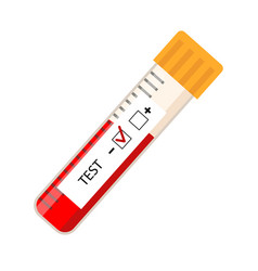 Icon tube test blood laboratory positive vector