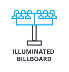illuminated billboard thin line icon sign symbol vector image