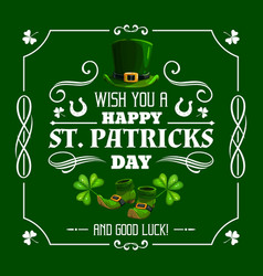 irish leprechaun hat and shamrock patricks day vector image
