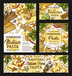 Italian pasta package italy cuisine menu sketch vector
