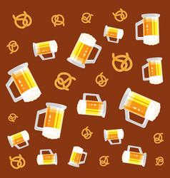 Jars beers and pretzels oktoberfest pattern vector