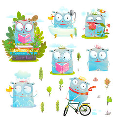 kids characters in action fun collection vector image