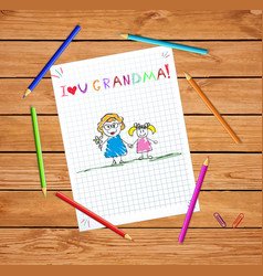 kids pencil drawing grandmother and vector image