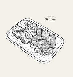 korean traditional dish gimbap korean sushi vector image